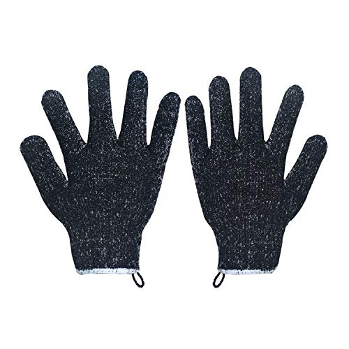 4 Pairs Exfoliating Gloves Body Scrubber,Black Scrub Wash Mitt for Bath or Shower,Deep Cleaning Acne and Dead Skin Removal.