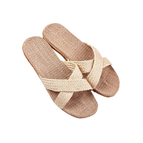 [Slip On Slipper lino algodón] Happy Lily antideslizante primavera Open Toe sandalia de verano para adulto, multicolor