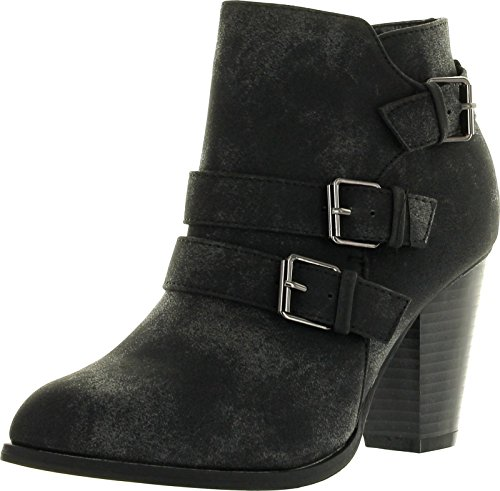 Forever Women's Buckle Strap Block Heel Ankle Booties, Black