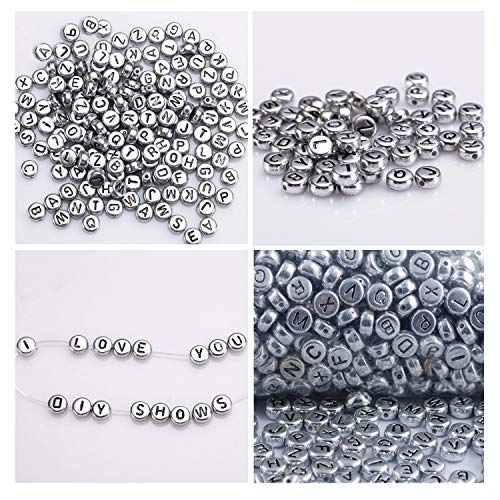1000Pcs Alphabet Letter Beads by Kurtzy - 6 x 6mm DIY Bracelet, Necklace Making and Kids Jewelry Craft Beads - Acrylic Letter Beads Coated in Silver Metal Finish for High Quality Results