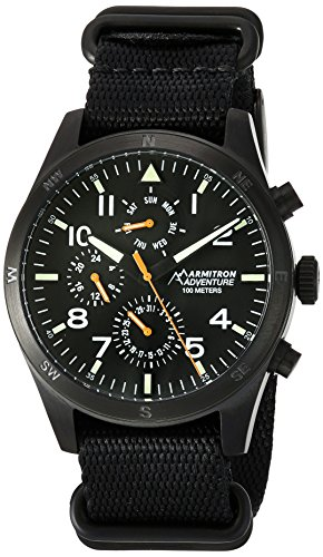 Armitron Adventure Men's AD/1004BKTIBK Multi-Function Dial Black Nylon Strap Watch