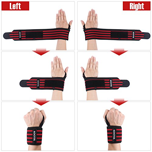 "Kootek Wrist Wraps, 2 Pack 18"" Wrist Straps Brace with Thumb Loops Adjustable Strenghen Support Bands for Weight Training, Powerlifting, Bodybuilding, Weight Lifting and Crossfit"