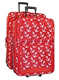 Ever Moda Anchor 2-Piece Luggage Set (Red)