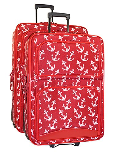 Ever Moda Anchor 2-Piece Luggage Set (Red) by Ever Moda