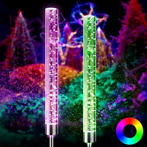 Solar Garden Lights Outdoor Decorations 2-Pack, Light Sensing Auto-Lighting Acrylic Bubble RGB LED Color Changing Stake Lights, IP65 Insert-Ground Festival Garden Lawn Pathway Yard Decorations