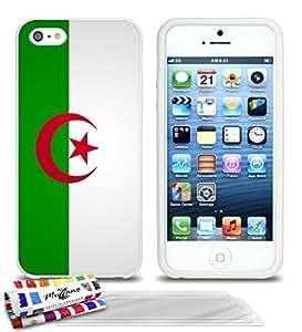 Carcasa flexible Ultrafina Blanca Original de MUZZANO estampada Bandera Argelia para APPLE IPHONE 5 + 3 películas de protección UltraClear para la pantalla