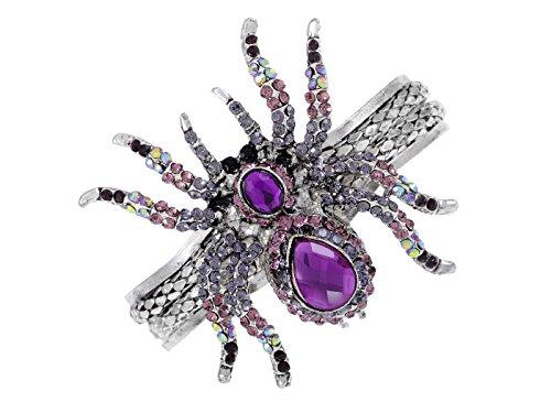 Alilang Silvery Metal Purple Crystal Spider Bangle Bracelet Halloween