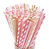 125 PCS Disposable Paper Straws – Doubletwo Drinking Decoration Straw Paper Drinking Straws