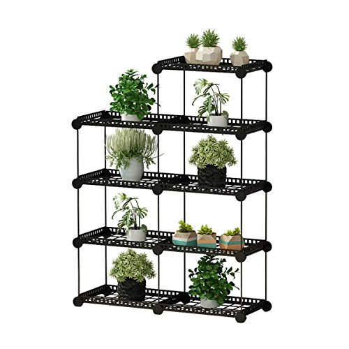 JYYG Portable Plant Stands Custom Shaped Succulents Pot Shelf Standing Baker's Racks for Flowers Metal Shelving Unit for Green House Indoor Outdoor Multifunction Storage Organizer, 7-grid Black ()