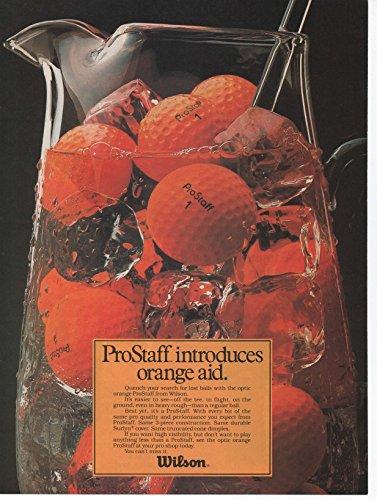 "Vintage Magazine Print Ad: 1981 Wilson Prostaff Optic Orange Golf Balls, ""Prostaff introduces Orange Aid"""