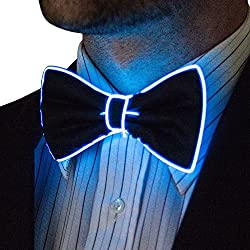 Light Up Blue Color Bow Tie