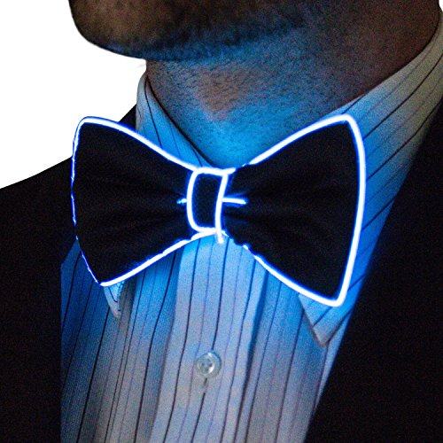 Neon Nightlife Light Up Bow Tie for Men, Blue