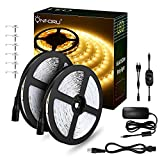 Onforu 66ft Dimmable LED Strip Lights Kit, UL Listed Power Supply, 3000K Warm
