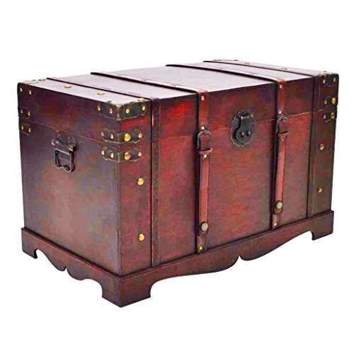 Price comparison product image vidaXL Large Wooden Treasure Storage Thunk Blanket Steamer Chest Vintage Antique Style