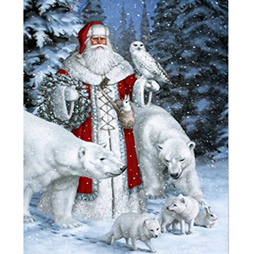 PigBoss Diamond Painting Cross Stitch Kit New Design Christmas Gift 5D DIY Diamond Painting Embroidery Diamond Mosaic For Adult Santa Claus and Bear Diamond Painting (11.8 X 15.7 inch) (Santa Christmas Art)