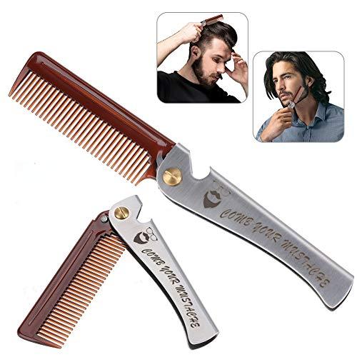 Peine de hombres, Herramienta de peluquería plegable para Barba y Pelo con mango de acero inoxidable para el alisado de...