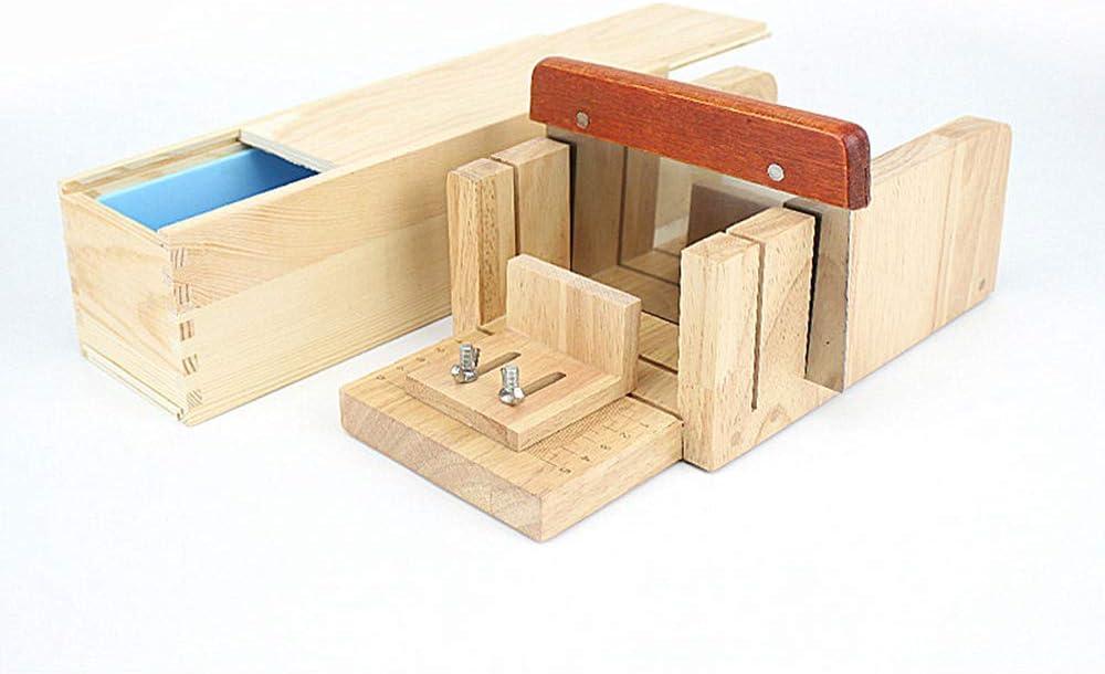 MKNZOME Hecho a Mano Fabricación de Jabón Cortador de Jabón de Madera Ajustable Conjunto de Herraminetas + Silicona jabón Molde con Caja de Madera + ...
