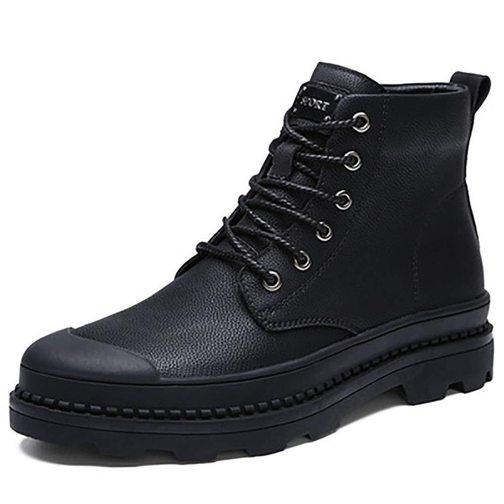 DLBJ Winter Plus Warme Herren Baumwollstiefel Mode Leder Stiefel Rutschfeste Martin Stiefel,schwarz,EU39 UK5.5