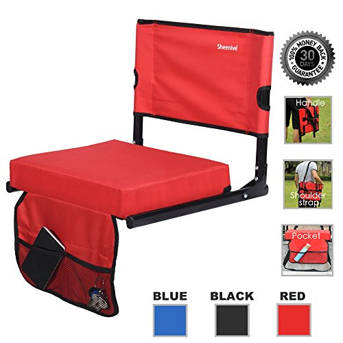 Sheenive Stadium Seat - Wide Padded Cushion Bleacher Stadium Chairs Seats for Outdoor Bench Bleachers with Leaning Back Support and Shoulder Strap, Perfect For NFL & Baseball etc Games, Red
