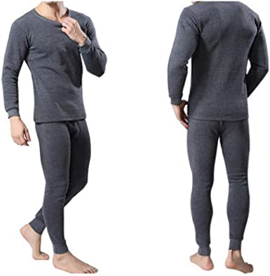 Mens Thermal Top and Bottom Set Underwear Long Johns Base Layer with Soft Fleece Lined