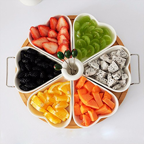 OLQMY-Heart-Shaped Ceramic Fruit Platter Candy Box Home Living Creativity Dried Fruit Fruit Basket ()