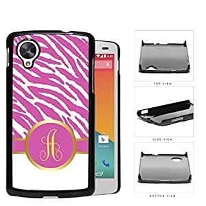 Customized Hot Pink and White Zebra Pattern Animal Print with Gray and White Vertical Stripes on Bottom and Hot Pink and Yellow Round Monogram in Center Outlined in Gold Hard Plastic Snap On Cell Phone Case LG Nexus 5