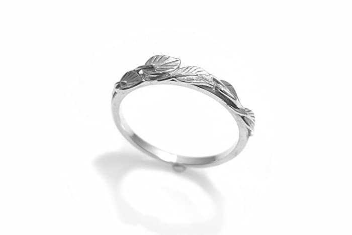 leaves wedding band 14k leaves ring leaf stackable band leaf ring vine - Leaf Wedding Ring