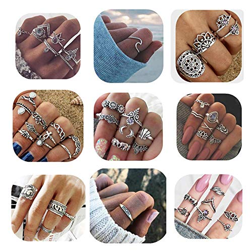 - ANGELANGELA Vintage Assorted 12 Set Stacking Rings, Antique Silver Joint Above Knuckle Nail Midi Band Statement Stackable Cuff Toe Finger Ring Set (Mixed 49Pcs)