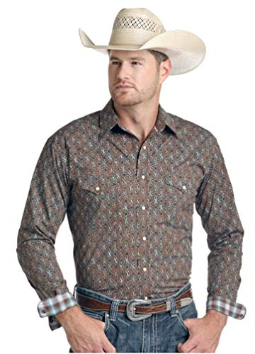 Panhandle Rough Stock Slim Mens Vermezo Print Long Sleeve Snap Western Shirt Brown - Panhandle Slim Snap Shirt