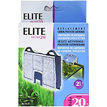 Elite Carbon Cartridge for Hush 20 Power Aquarium Filter, 2-Pack
