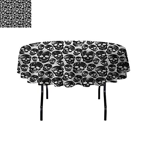 Curioly Gothic Waterproof Anti-Wrinkle no Pollution Grunge Black Human Skulls on White Backdrop Evil Men Fear Horror Death Skeleton Table Cloth D47 Inch Black White ()