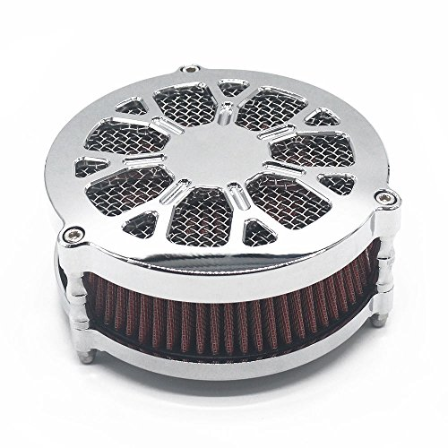 TJMOTO Chrome Air Cleaner Intaker Filter Kit For Harley Davidson EFI&Carb Dyna&Softail ()