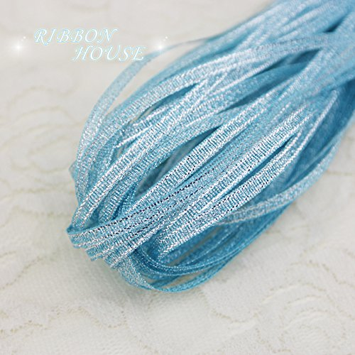 FunnyPicker (20 Meters/Lot) 1/8'' (3Mm) Sky Blue Metallic Glitter Ribbon Colorful Gift Package Ribbons Wholesale