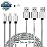 BoYao 3Pack 10FT Lightning Cable Nylon Braided Lightning to USB Cable Sync Data and Charging Cable Cord for iPhone 7/7 plus/6/6s/6 plus/6s plus, 5c/5s/5/SE, iPad 4/Air/Mini, iPad Pro, iPod Nano/Touch