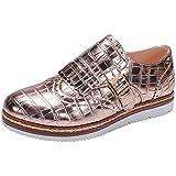 Nature Breeze Women's Wingtip Loafer Croc Embossed Flatform Oxford Shoe (10 B(M) US, Rose Gold)