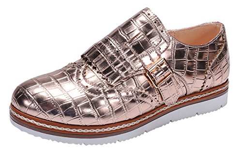 Nature Breeze Women's Wingtip Loafer Croc Embossed Flatform Oxford Shoe (10 B(M) US, Rose Gold) ()