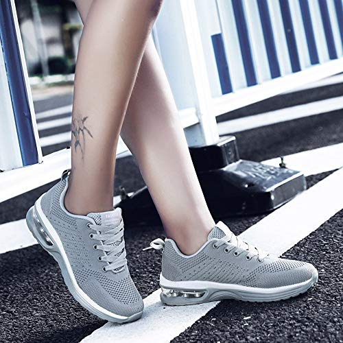 Lace Grey FALAIDUO Shoes Mesh Color Breathable Women Solid Couple Sports Woven Sneaker Shoes Up Platform Outdoor Casual Running TqApISqxw