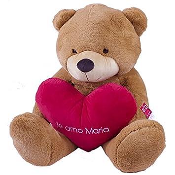 Oso pajarita marrón 100cm con corazón personalizado con texto o foto. Fabricado en España