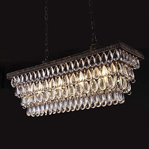 Wellmet Dining Room Crystal Chandelier,30 inch Antique Bronze Rectangle Crystal Ceiling Light,4 Lights Farmhouse Kitchen Island Lighting,Adjustable Hanging Light Fixture