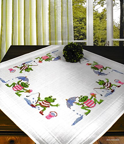 Printed Cross Stitch Tablecloth - Printed Stamped Cross Stitch Tablecloth Kit for Embroidery (Frogs 6913)