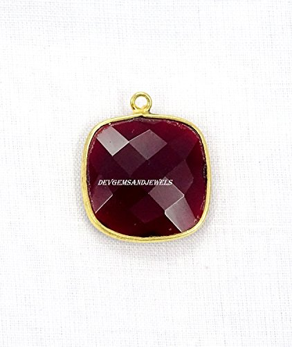(1 Piece Red Garnet Hydro Cushion 17 mm 24k Gold Plated Single Bail Faceted Bezel Charm)