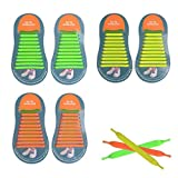 No Tie Shoelaces Rubber Shoes Laces for Kids and Adults, YUANFENG Tieless Elastic Silicone Waterproof Flat Athletic Shoe Laces (Kids, Orange+Green+Yellow)