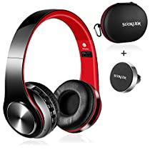 Bluetooth Headphones Over Ear, Hi-Fi Stereo Wireless Headset, Foldable, Soft Memory-Protein Earmuffs, w/ Built-in Mic and Wired Mode for PC/ Cell Phones/TV