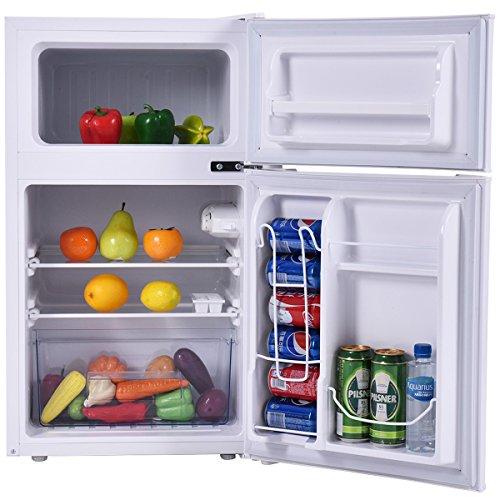 Costway 2 Door Compact Refrigerator 3 2 Cu Ft Unit Small