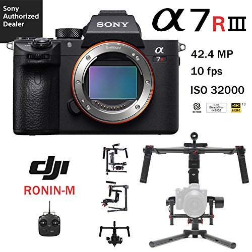 (Sony a7R III Full-Frame Mirrorless Interchangeable Lens 42.4MP Camera Body (ILCE7RM3/B) and DJI Ronin M 3-Axis Brushless V3 Gimbal Stabilizer with 2 Batteries)
