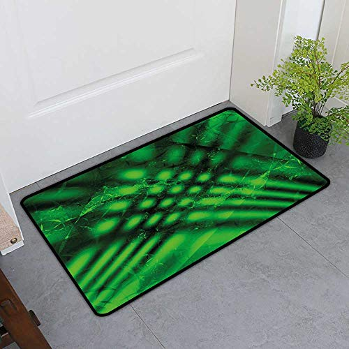 (TableCovers&Home Pet Door Mat, Lime Green Doormats for High Traffic Areas, Psychedelic Abstract Blurry Shade Formless Effects Complex Visual Design (Hunter Green Black, H36 x W60))