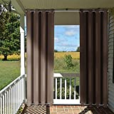 Patio Anti-Wind Curtain Outdoor Panel - NICETOWN Easy Care Top and Bottom Grommet Blackout Mildew Resistant Drape, Indoors and Outdoors Drapery(1 Panel,52 Inch Wide x 84 Inch Long, Toffee Brown)