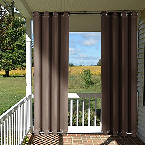 Patio Curtain Outdoor Drape 108 - NICETOWN All Season Home Decoration Thermal Insulated Outdoor Top and Bottom Grommets Blackout Curtain /Drape, Wind-Breaks (1 Panel,52-Inch x 108-Inch, Toffee Brown)