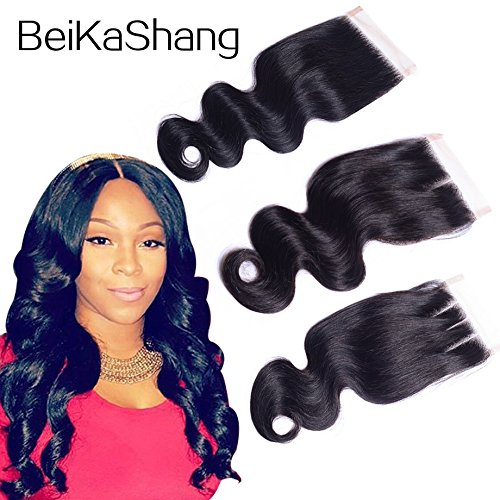 BeiKaShang Body Wave 4x4 Lace Closure with Baby Hair Natural Black Brazilian Virgin Human Hair Closures with Bleached Knots Free Part 8