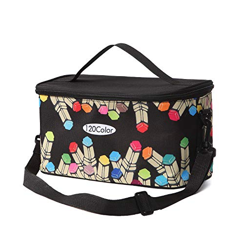 Copic Marker Storage Case - Toprema New Marker Pen Case Holder for 120 Markers Organizer Multifunctional Zipper Storage Carrying Bag with Pattern Black